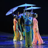 Scene in the rain-The dance drama The legend of the Condor Heroes Stock Images