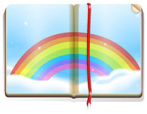 Scene with rainbow in the book Royalty Free Stock Images