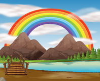 Scene with rainbow over the river. Illustration Royalty Free Stock Photo