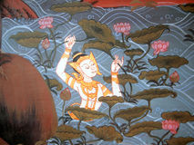 Scene from the Ramakien in Wat Phra Kaew, Bangkok, Thailand Royalty Free Stock Photography