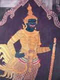 Scene from the Ramakien in Wat Phra Kaew, Bangkok, Thailand Royalty Free Stock Photos