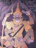 Scene from the Ramakien in Wat Phra Kaew, Bangkok, Thailand Royalty Free Stock Images