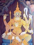 Scene from the Ramakien in Wat Phra Kaew, Bangkok, Thailand Royalty Free Stock Photo