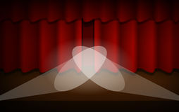 The Scene with the Red Curtain Stock Photo