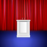 Scene with red curtain, tribune. Place for Royalty Free Stock Image