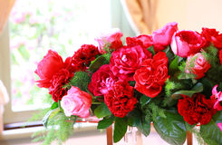 Scene of the red flower of the room. Scene of the rose of many red flowers of the room Stock Photo