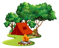 Scene with red tent in the woods Stock Image