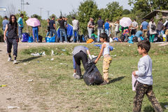 Scene from the Refugee camp in Tovarnik Stock Photo
