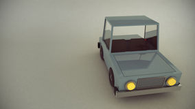 Scene of a retro low poly toy car Royalty Free Stock Images