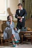 Scene with retro style couple stock photo