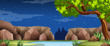 Scene with river and canyon at night. Illustration vector illustration