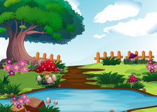 Scene with river in garden. Illustration Royalty Free Stock Photo