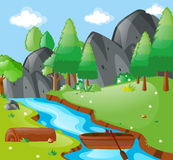 Scene with river and mountains. Illustration Royalty Free Stock Photos