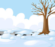 Scene with road covered with snow. Illustration Royalty Free Stock Photography