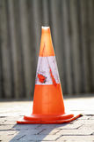 Scene road safety cone. Timeworn placed on the road Stock Photos