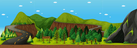 Scene with road to the mountain. Illustration Royalty Free Stock Photos