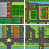 Scene with roads and sport fields royalty free illustration
