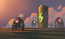 Scene of robots with energy status Stock Photo