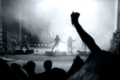 Scene from a rock concert. With silhouette singer Royalty Free Stock Photos