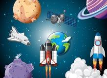 Scene of rocket ships in space stock illustration