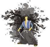 Scene of the samurai on background. Ated with sulphur-black background Royalty Free Stock Images
