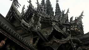 Thailand Sanctuary of Truth 10.mp4. Scene from Sanctuary of Truth Thailand Asia Slow PAN Motion of the building and carvings stock footage