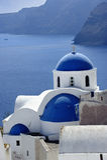 Scene in Santorini island, Greece. Church Cupolas of Oia town on Santorini island, Greece Stock Images