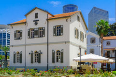 Scene of the Sarona compound, in Tel-Aviv. TEL-AVIV, ISRAEL - MAY 18, 2017: Scene of the Sarona compound, in Tel-Aviv, Israel. It was established in Haifa in Royalty Free Stock Photo