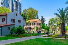 Scene of the Sarona compound, in Tel-Aviv. TEL-AVIV, ISRAEL - MAY 18, 2017: Scene of the Sarona compound, with visitors, in Tel-Aviv, Israel. It was established Royalty Free Stock Photo