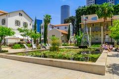 Scene of the Sarona compound, in Tel-Aviv. TEL-AVIV, ISRAEL - MAY 18, 2017: Scene of the Sarona compound, with visitors, in Tel-Aviv, Israel. It was established Royalty Free Stock Photos