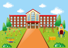 Scene with school building and playground Stock Photos