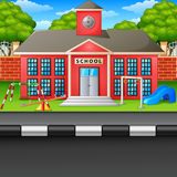 Scene school building and street. Illustration of Scene school building and street Stock Image
