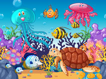 Scene with sea animals under the ocean Stock Photo