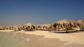 Scene of sea and beach. Summer scene of surf and empty beach with straw sum umbrellas on windy day stock video footage