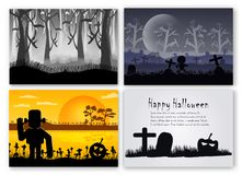 Scene set of Halloween day in october. Vector illustration in si. Lhouette style with forest, pumpkin, frankenstein and bone stock illustration