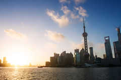 Scene of shanghai with sunset Royalty Free Stock Images