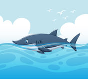 Scene with shark in ocean. Illustration vector illustration