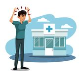Scene sickness people with headache in to the hospital. Vector illustration Royalty Free Stock Photos
