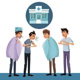 Scene sickness people men with icon facade hospital. Vector illustration Stock Images