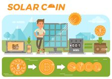 Solar coin concept. Scene with simple solar coin collecting process with a guy standing near solar panels generating electricity, converting to the Solar coins Royalty Free Stock Images