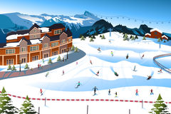 Scene in a Ski Resort Royalty Free Stock Photography