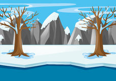 Scene with snow field and river in winter Stock Photo