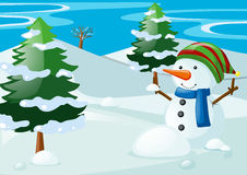 Scene with snowman in the snow field Stock Photo