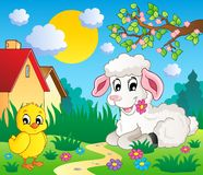 Scene with spring season theme 4 Stock Image
