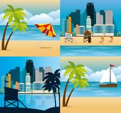 Scene stabilite di paesaggio urbano di Miami Beach Immagini Stock