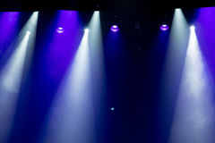 Scene, stage light with colored spotlights Royalty Free Stock Images