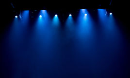 Scene, stage light with colored spotlights stock photos