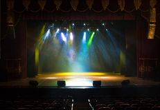 Scene, stage light with colored spotlights Stock Photo