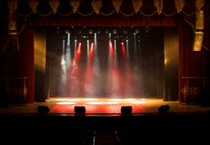 Scene, stage light with colored spotlights Royalty Free Stock Photography