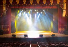 Scene, stage light with colored spotlights Stock Image